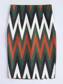 Zig Zag Faux Suede Pencil Skirt - Multicolor S