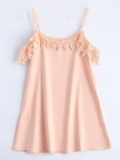 Cold Shoulder Cami Dress With Crochet Trim - Pink S