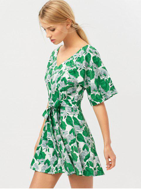 new Leaves Print Belted A-Line Dress - GREEN L Mobile