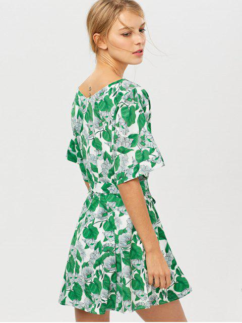 outfit Leaves Print Belted A-Line Dress - GREEN S Mobile