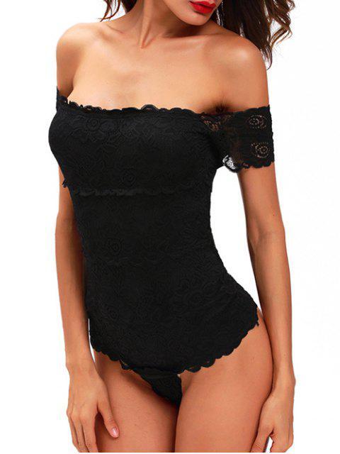 fancy Lace Off The Shoulder Bodysuit - BLACK L Mobile