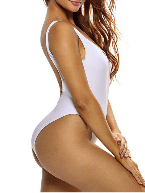 latest High Cut See Through One Piece Swimmwear - WHITE S Mobile