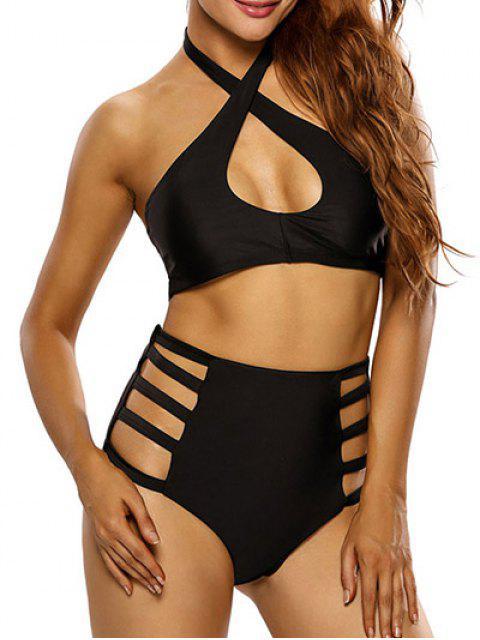 online Crosscriss Cut Out High Waisted Bikini Set - BLACK S Mobile
