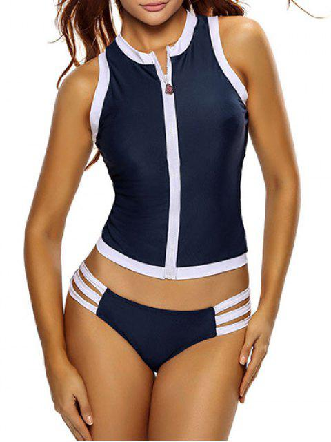 shop Color Block Full Zip Sports Tankini Set - DEEP BLUE L Mobile