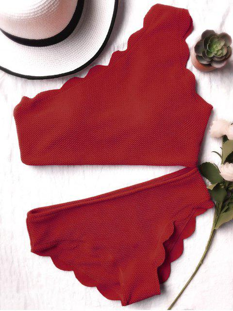 womens Wireless Scalloped One Shoulder Bathing Suit - BURGUNDY S Mobile