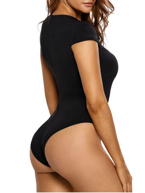 outfits Cap Sleeve Lace Up Bodysuit - BLACK M Mobile