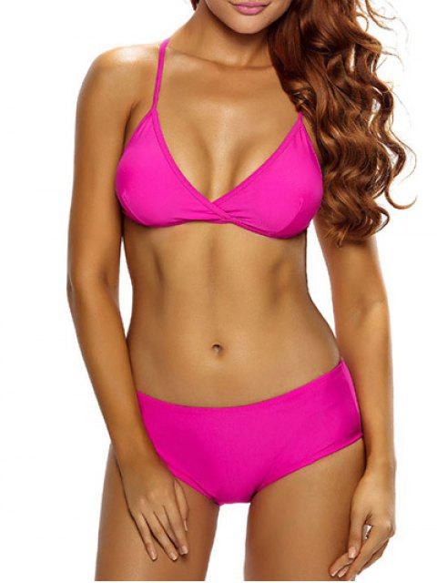 hot Casual Strappy Bikini Set - ROSE RED S Mobile