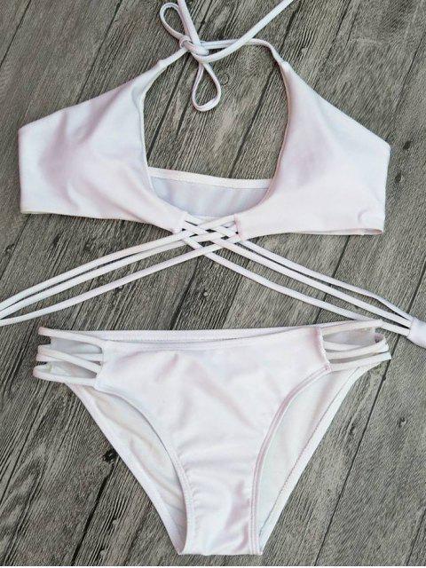 lady Strappy Cutout Lace-Up Bikini Set - WHITE M Mobile