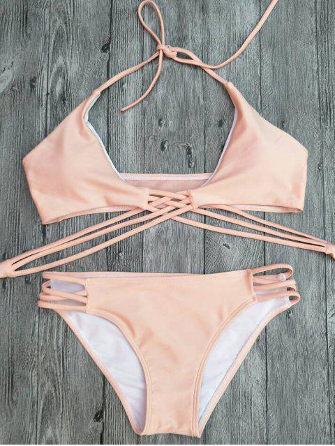 hot Strappy Cutout Lace-Up Bikini Set - PINK S Mobile