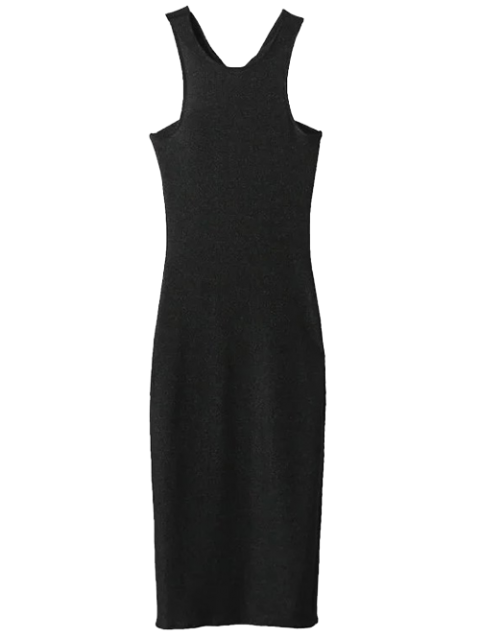 Twist Retour Tank Dress Low Pencil - Noir S Mobile