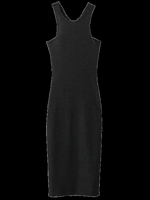 women Twist Low Back Pencil Tank Dress - BLACK S Mobile