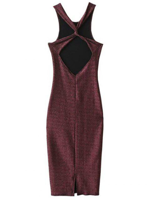 ladies Twist Low Back Pencil Tank Dress - WINE RED M Mobile