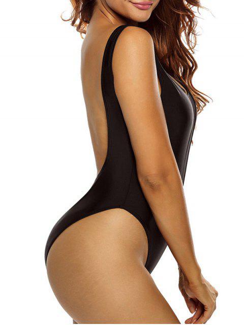 fancy High Cut See Through One Piece Swimmwear - BLACK S Mobile