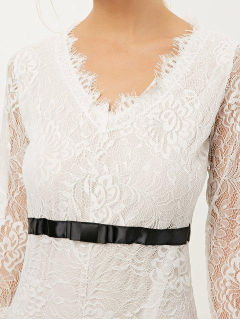 lady V Neck Lace Prom Maxi Dress - WHITE XL Mobile
