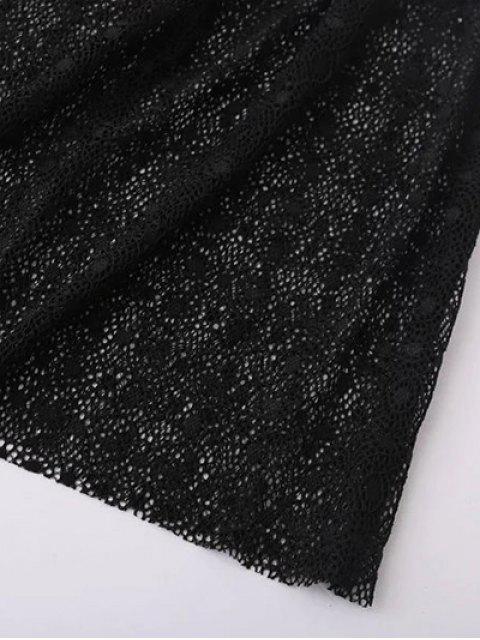 affordable Lace Sheer Midi Dress - BLACK S Mobile