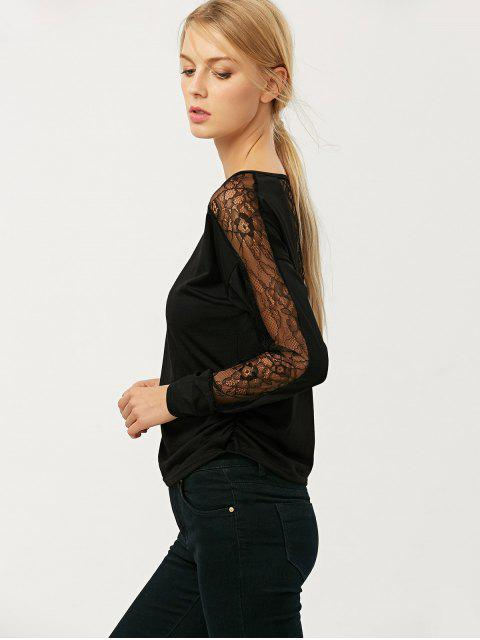fancy See Thru Lace Panel Tee - BLACK M Mobile