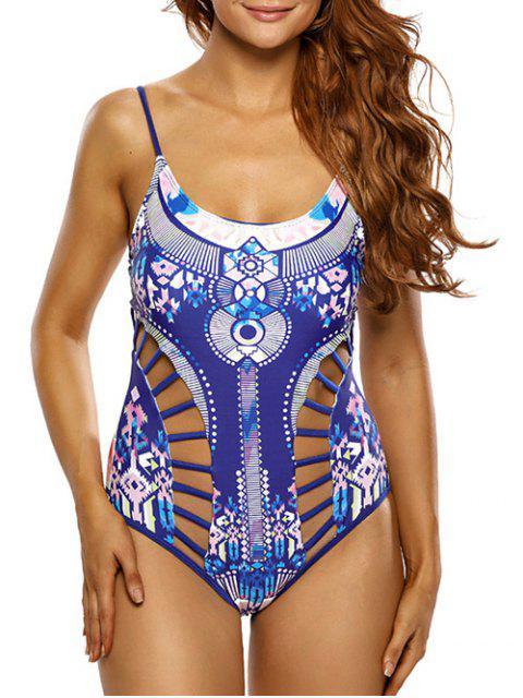 shop Ladder Cutout Aztec Print Swimsuit - BLUE XL Mobile