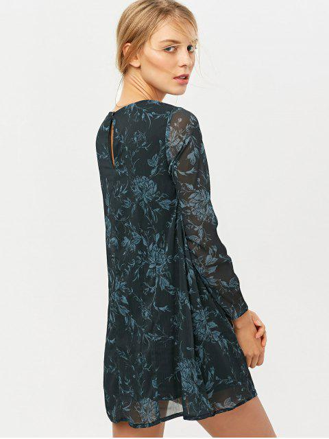 lady Long Sleeve Floral Jacquard Dress - BLACK 2XL Mobile