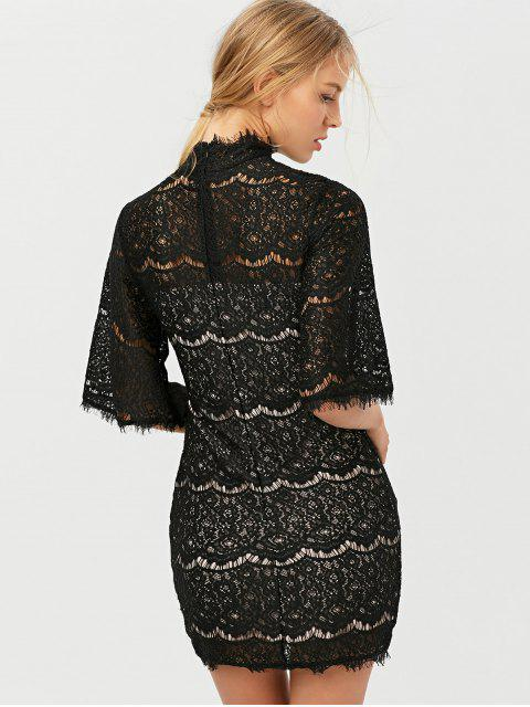 womens Flare Sleeve Hollow Out Lace Mini Dress - BLACK 2XL Mobile