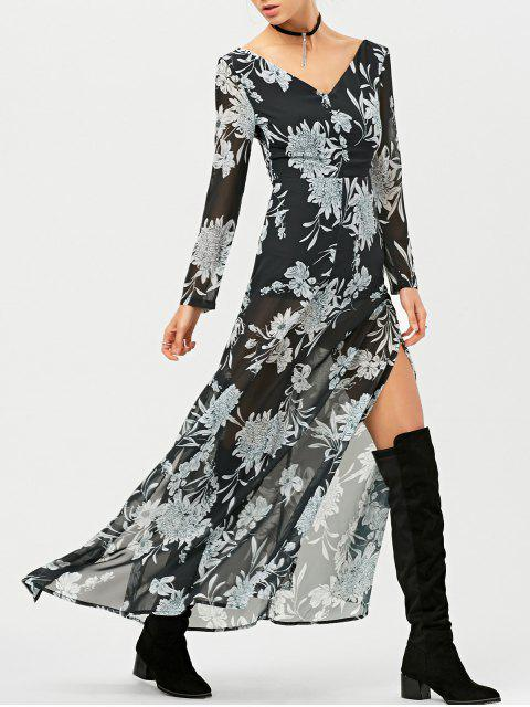 unique High Slit Floral Print Maxi Dress - BLACK XS Mobile