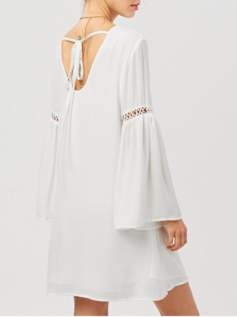 outfits Cut Out Long Flare Sleeve Swing Dress - WHITE 2XL Mobile