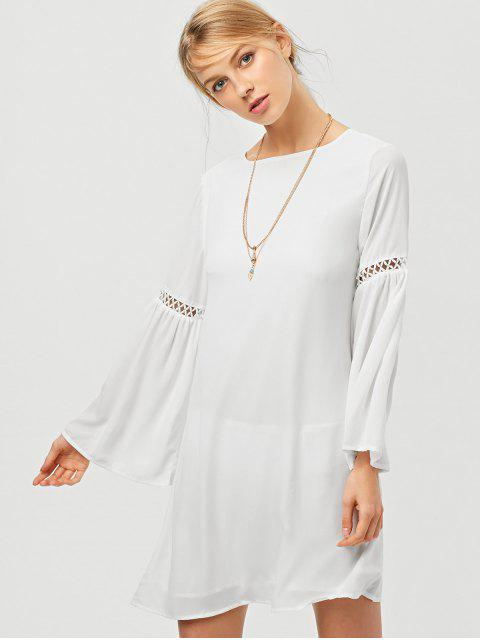 shops Cut Out Long Flare Sleeve Swing Dress - WHITE L Mobile
