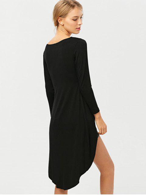 chic High-Low Asymmetrical Casual Dress - BLACK 2XL Mobile