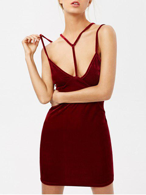 fancy Low Cut Velvet Strappy Dress - BURGUNDY XL Mobile