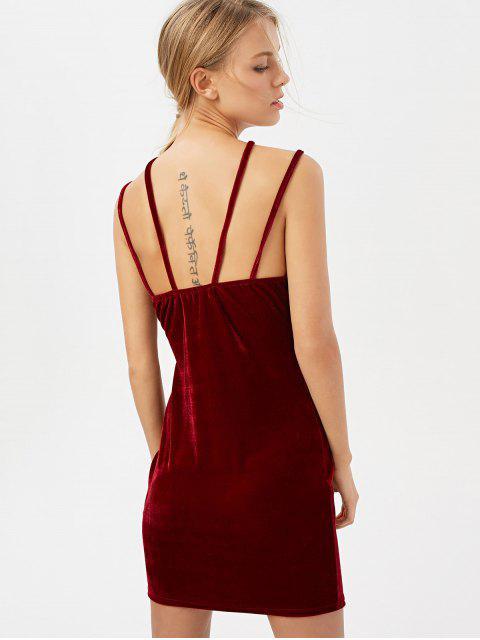 unique Low Cut Velvet Strappy Dress - BURGUNDY L Mobile
