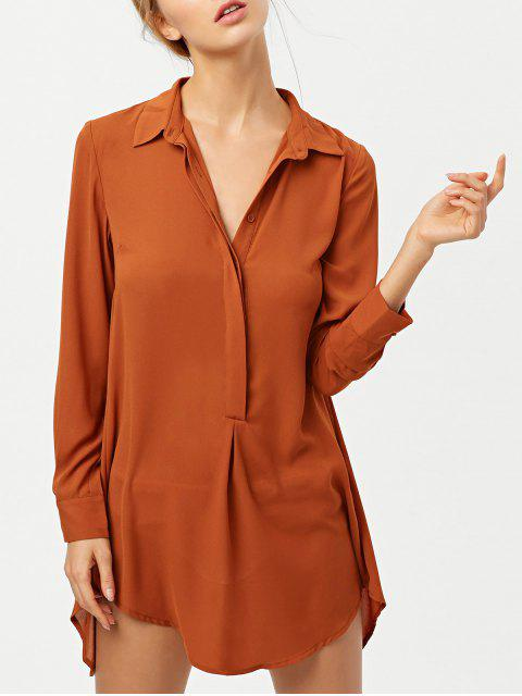shops Self Tie Long Sleeve Shirt Dress - BROWN M Mobile