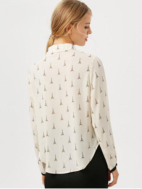 shop Eiffel Tower Print High Low Blouse - OFF-WHITE S Mobile