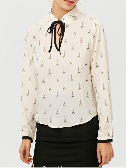 new Eiffel Tower Print High Low Blouse - OFF-WHITE 2XL Mobile