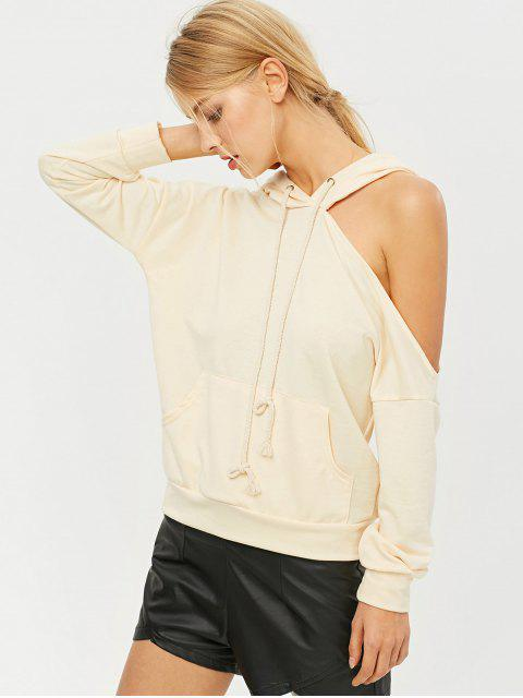 shops Oversized Cold Shoulder Hoodie - LIGHT APRICOT S Mobile