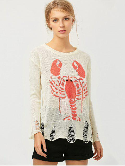 affordable Oversized Distressed Graphic Sweater - OFF-WHITE ONE SIZE Mobile