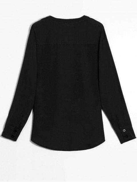women's Chiffon Crossover Choker Blouse - BLACK S Mobile