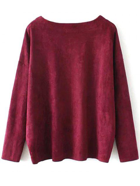 ladies Suede Elastic Hem T-Shirt - BURGUNDY M Mobile