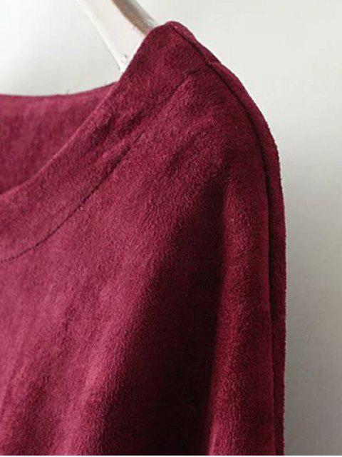 hot Suede Elastic Hem T-Shirt - LIGHT BROWN L Mobile