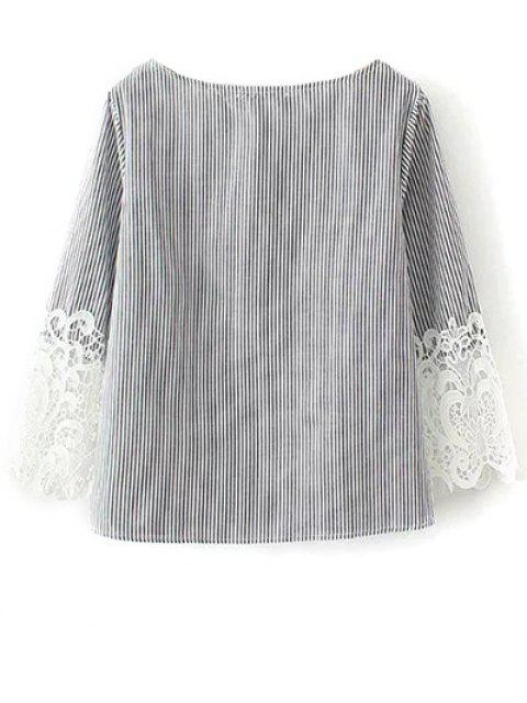 best Lace Insert Striped Top Boat Neck Blouse - BLACK S Mobile