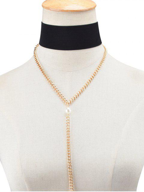 fancy Fake Pearl Chain Velvet Layered Necklace - BLACK  Mobile