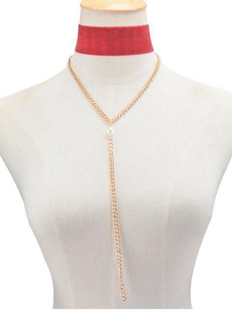 unique Fake Pearl Chain Velvet Layered Necklace -   Mobile