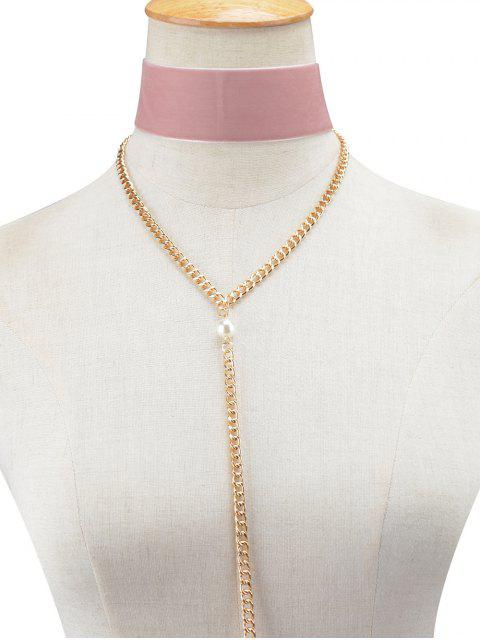 womens Fake Pearl Chain Velvet Layered Necklace - PINK  Mobile