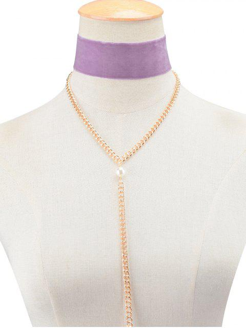 ladies Fake Pearl Chain Velvet Layered Necklace - PURPLE  Mobile