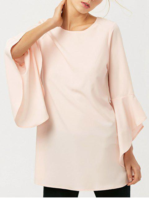 fashion FItting Flare Sleeve Blouse - LIGHT APRICOT PINK S Mobile