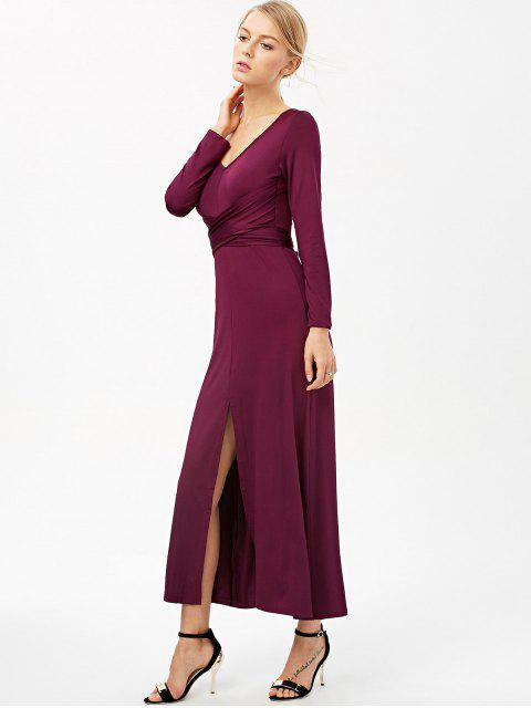 outfit Belted High Slit Maxi Dress - PURPLISH RED S Mobile
