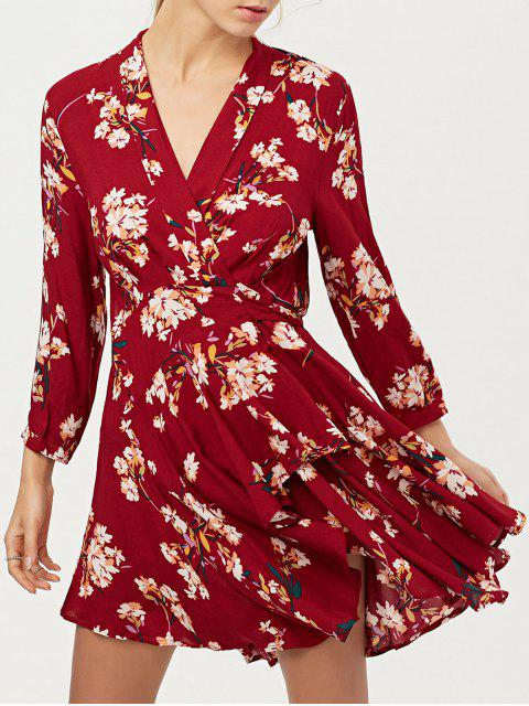 affordable Floral Asymmetric Wrap Dress - RED L Mobile