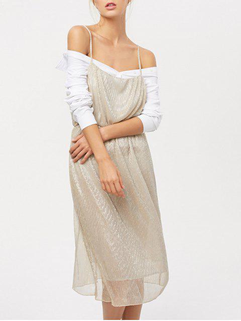trendy Shiny Midi Cami Dress - CHAMPAGNE L Mobile