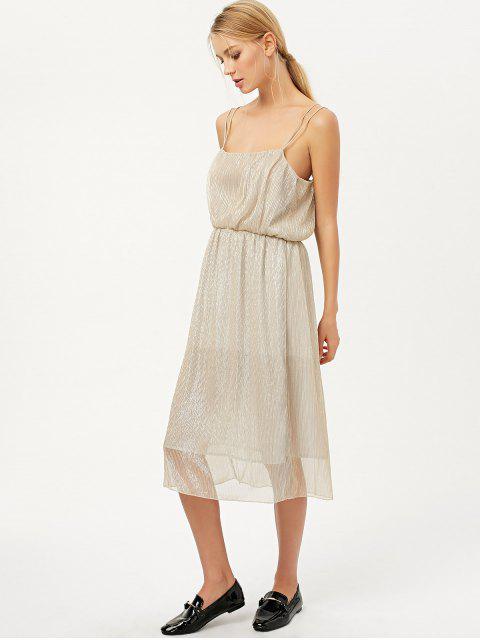 fashion Shiny Midi Cami Dress - CHAMPAGNE M Mobile