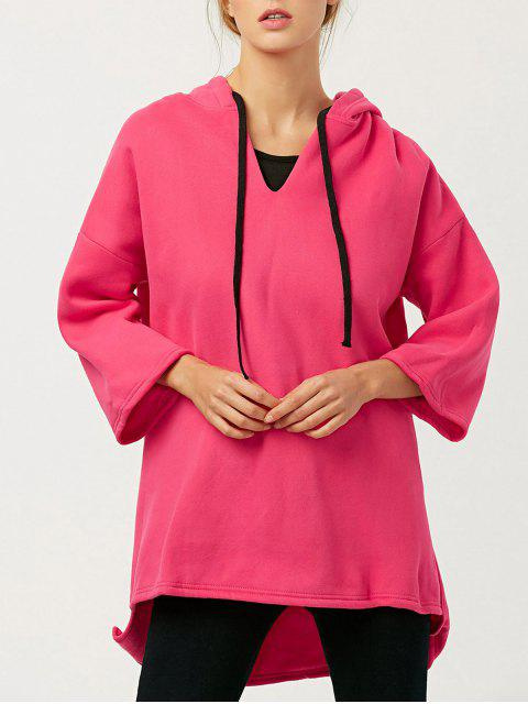 trendy High-Low Wool Blend Hoodie - RED ONE SIZE Mobile