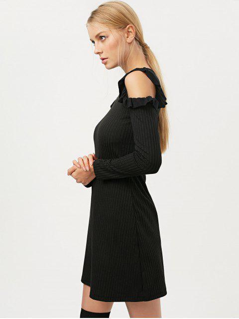women Long Sleeve Cold Shoulder A-Line Dress - BLACK L Mobile
