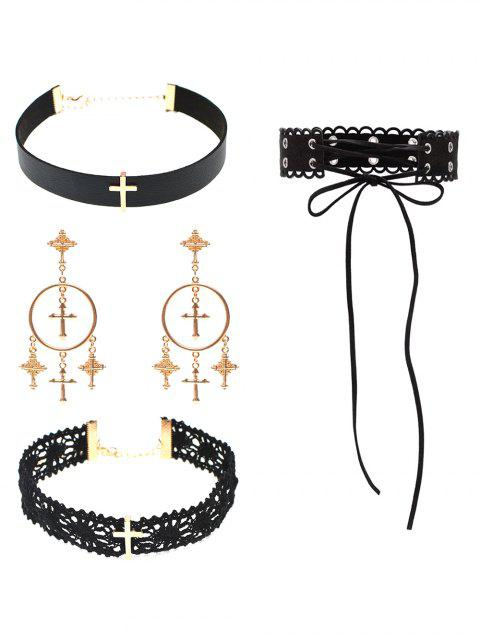 lady Cross Lace PU Leather Necklace and Earrings -   Mobile